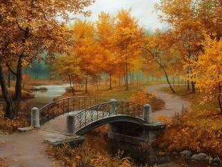 обои для рабочего стола: Ажурный мостик в осеннем парке