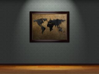 обои Карта земли в рамочке на стене фото