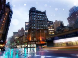 обои Свет витрин у мокрой улицы фото