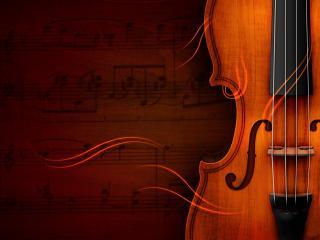 обои Скрипка на фоне партитуры фото