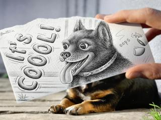 обои Дорисованный собака фото