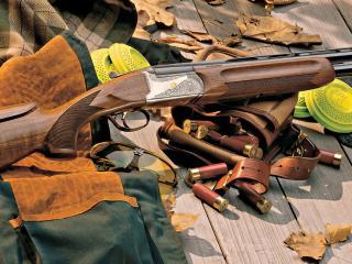 обои Оружие и патроны с осенней листвой фото