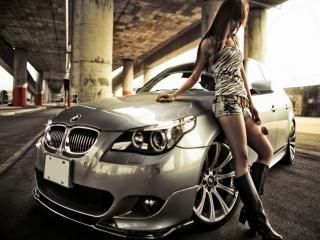 обои BMW и девушка фото