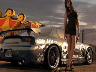 обои Машина с аэрографией и девушка фото