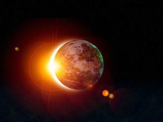 обои Темный фон космоса и планетка в красном спектре фото