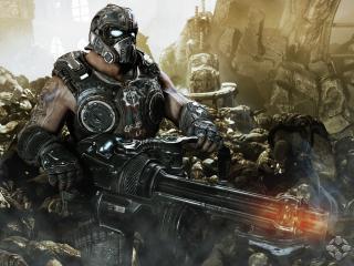 обои Мужчина в броне с мощнейшим оружием фото