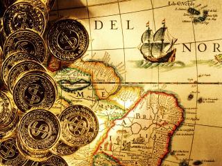 обои Красочная старинная карта и монеты фото