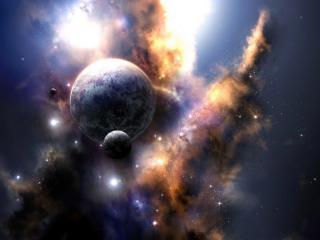 обои для рабочего стола: Галлактика со звездами и планетами