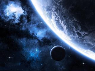 обои Космический пейзаж с планетами и звездами фото