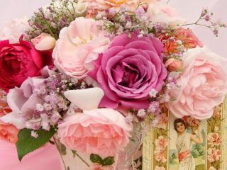 обои для рабочего стола: Букет из разных роз