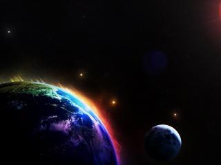обои Планета и спутник освещены солнцем фото