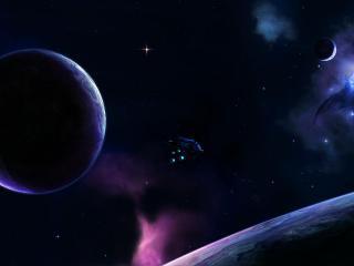обои Междупланетный корабль в просторах галлактики фото