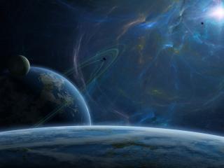 обои Свет в синем космосе фото