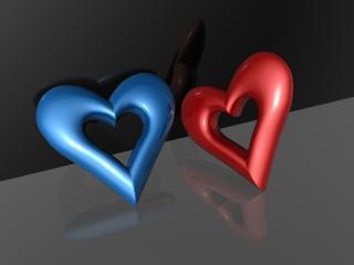 обои Синее и красное сердечки фото