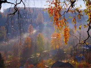 обои Деревенька моя осенью фото