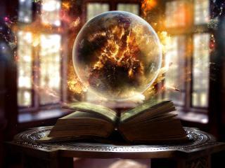 обои На столике магическая книга фото