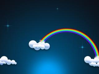 обои Небо с радугой у облаков фото