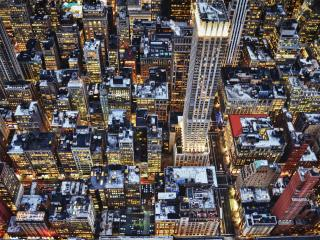 обои Вид с высоты вечерних кварталов фото