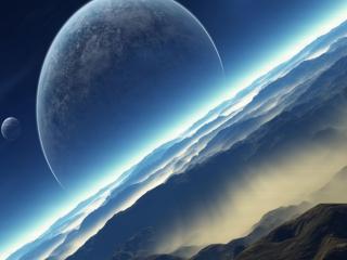обои Голубые облака и планеты фото