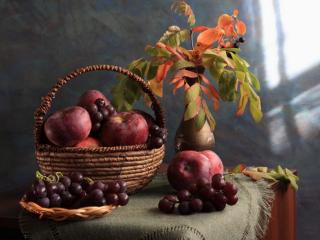 обои Натюрморт - Яблочно-виноградный фото