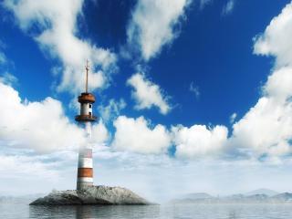 обои Маяк на каменистом островке фото