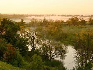 обои Туманное утро над речкою фото