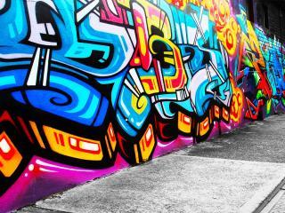 обои Граффити на стене разноцветное фото