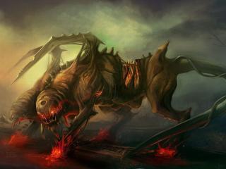 обои Двухглавое собакообразное чудовище фото