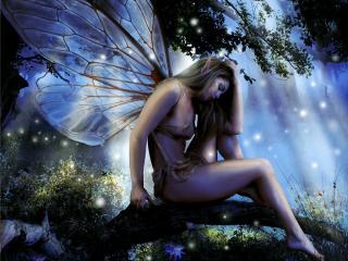 обои Прекрасный ангел присела на дереве фото