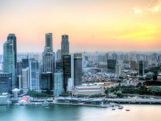 обои Небоскребы города у морских заливов фото