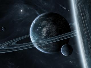 обои Планеты со спутниками в галлактике фото