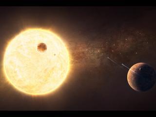 обои Большая светящаяся планета фото