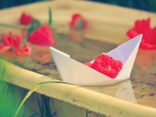 обои Бумажный кораблик с цветком фото