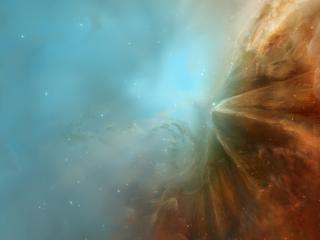 обои Космическая даль с коричневой туманностью фото