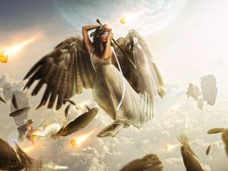 обои Крылатая девушка с мечом и завязаны глаза фото
