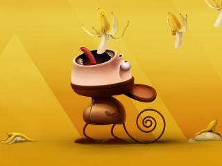 обои Рисунок мартышки с падающими бананами фото