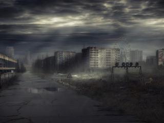 обои Пасмурное небо над Припятью фото