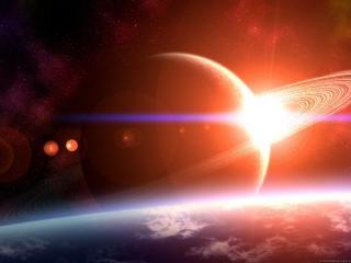 обои Планета с кольцами в красном свете фото