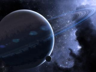 обои Планета с кольцами и ее спутник фото