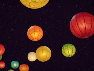 обои Шары фонари разноцветные фото