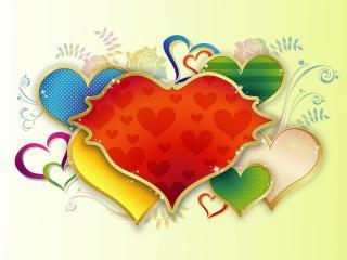 обои Нарисованные сердечки с орнаментом фото