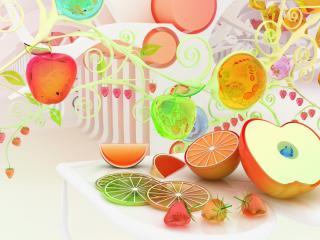 обои Яблоки,   лимоны с апельсинами фото