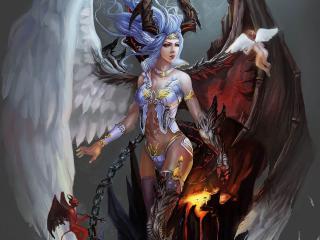 обои Сказочная девушка,   ангел и демон фото