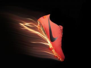 обои для рабочего стола: Огонь на подошве в спортивной обуви