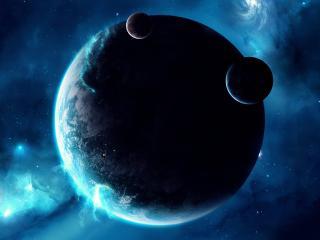 обои Спутники и планеты в синем космосе фото