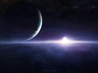 обои Восход солнца и планета большая со спутником фото