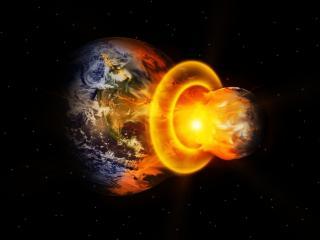 обои Космические взрывы в темном космосе фото