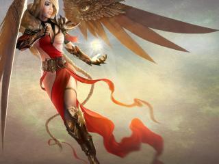 обои Крылатая девушка с магическим шаром фото