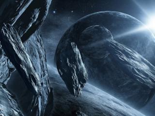 обои Метеоритные обломки в космосе фото