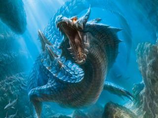 обои Подводный дракон разинул пасть фото